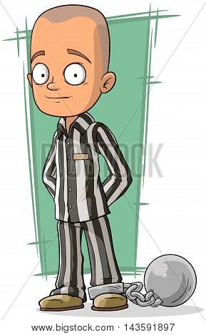 A vector illustration of cartoon bald prisoner with metal chain