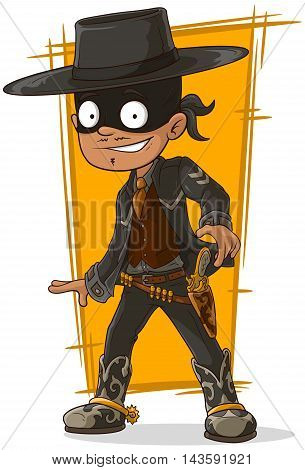 A vector illustration of cartoon bandit in black mask