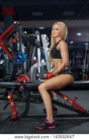 Muscular body of a young woman, abs close up. Girl doing lifting of dumbbells at the gym