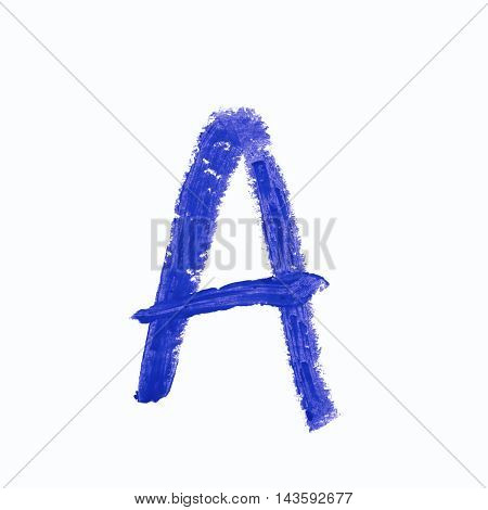 Single a latin letter symbol drawn with a wax crayon isolated over the white background