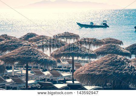 Vintage view of a beach in Santorini - Greece