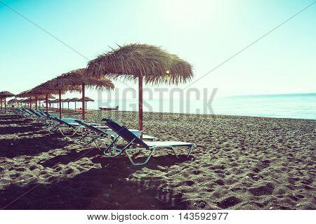 Vintage view of a beach in Santorini island - Greece