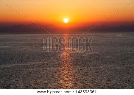 Sunset over the sea of the greece - Santorini - Greece
