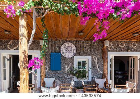 Front of a restaurant in Santorini - Greece