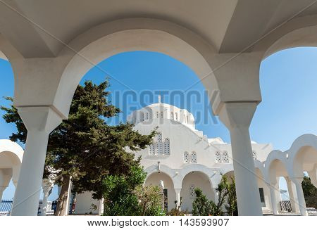 Big white church in Fira - Santorini - Greece