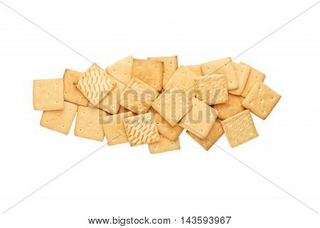 light breakfast crackers lined up in two rows isolated on white background
