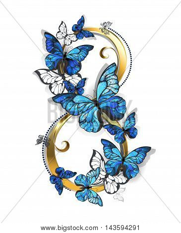 figure eight of gold decorated with realistic blue butterflies morpho on a white background. Design with butterflies. Morpho. Design with blue butterflies morpho.