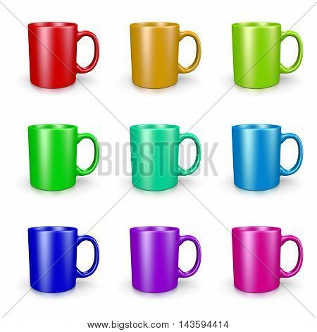 Mugs Set On White