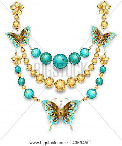 necklace of gold butterflies gold and turquoise beads on a white background. Design jewelry.