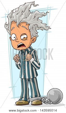 A vector illustration of cartoon crazy man in prisoner robe