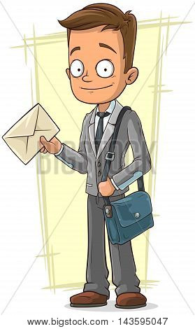 A vector illustration of cartoon cute postman with bag and letter