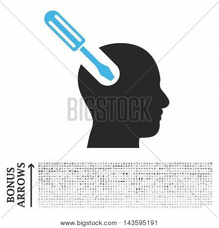 Brain Tool icon with 1200 bonus arrow and direction pictograms. Vector illustration style is flat iconic bicolor symbols, blue and gray colors, white background.