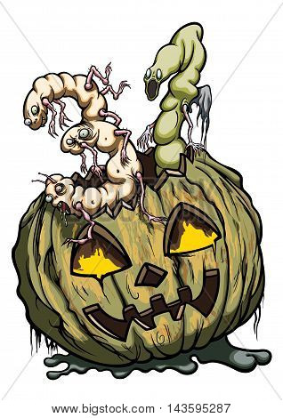 Illustration halloween pumpkin with two monster's figures like number '31'