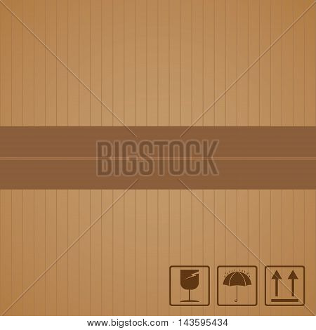 Black fragile symbol with brown cardboard texture.