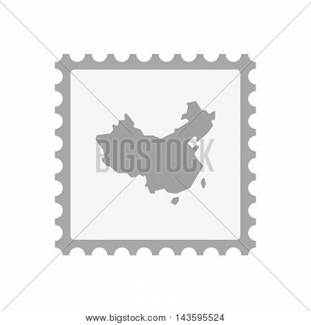 Isolated Mail Stamp Icon With  A Map Of China