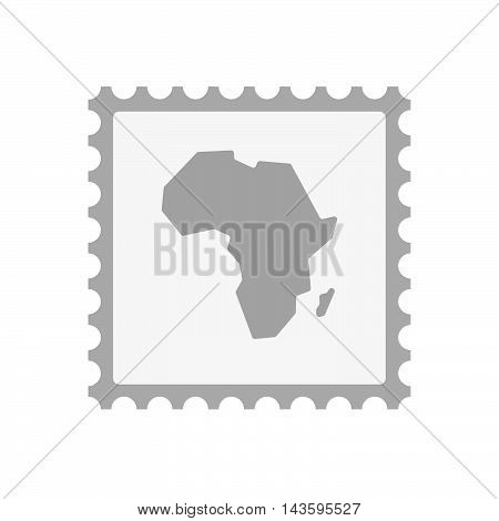 Isolated Mail Stamp Icon With  A Map Of The African Continent