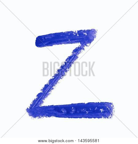 Single z latin letter symbol drawn with a wax crayon isolated over the white background
