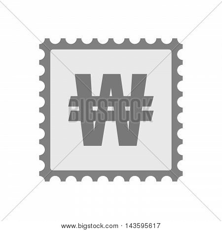 Isolated Mail Stamp Icon With A Won Currency Sign