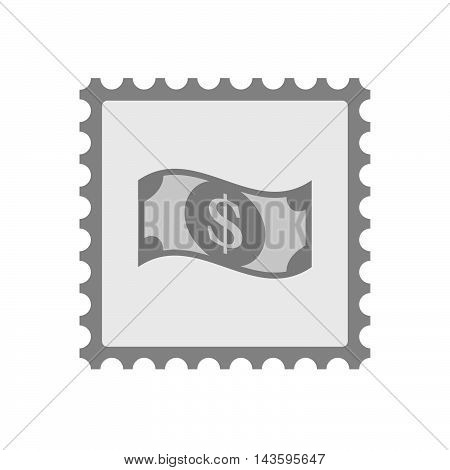 Isolated Mail Stamp Icon With A Dollar Bank Note