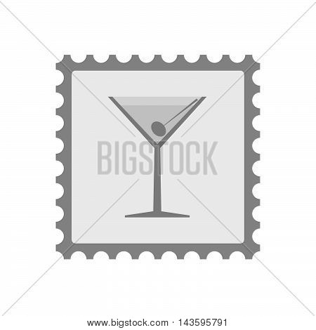 Isolated Mail Stamp Icon With A Cocktail Glass