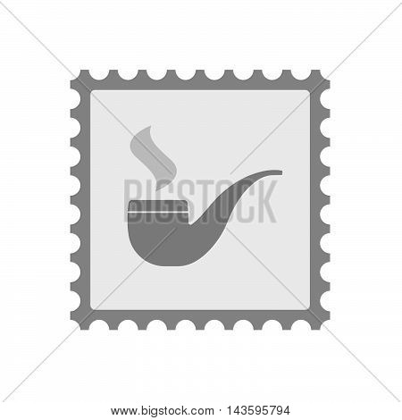 Isolated Mail Stamp Icon With A Smoking Pipe