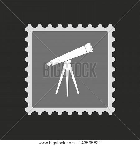 Isolated Mail Stamp Icon With A Telescope