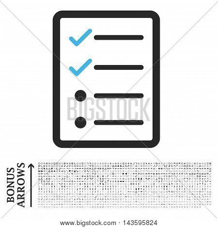 Checklist Page icon with 1200 bonus arrow and navigation pictograms. Vector illustration style is flat iconic bicolor symbols, blue and gray colors, white background.
