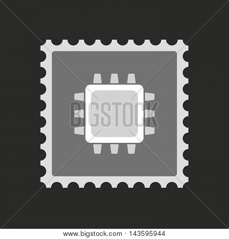 Isolated Mail Stamp Icon With A Cpu