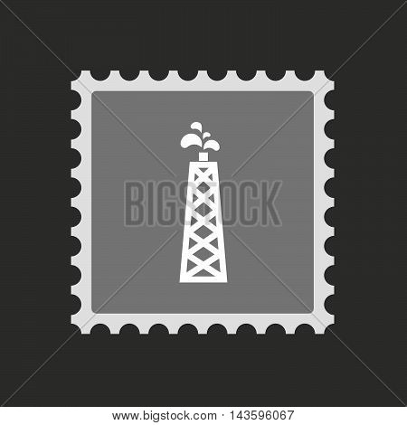 Isolated Mail Stamp Icon With An Oil Tower
