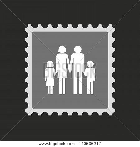Isolated Mail Stamp Icon With A Conventional Family Pictogram