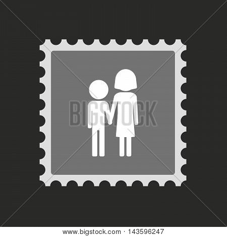 Isolated Mail Stamp Icon With A Childhood Pictogram