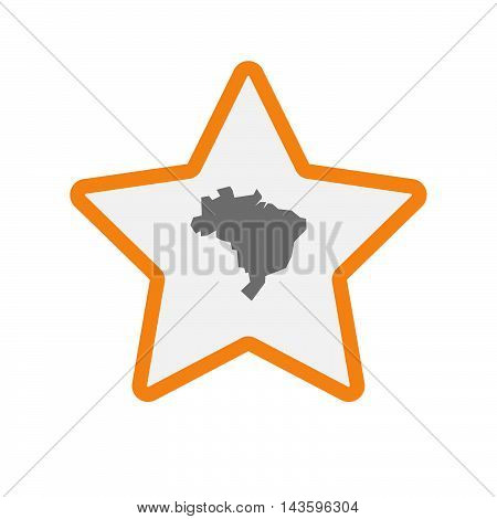 Isolated Line Art Star Icon With  A Map Of Brazil