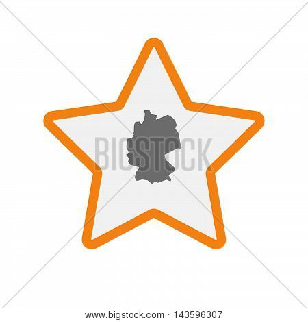 Isolated Line Art Star Icon With  A Map Of Germany