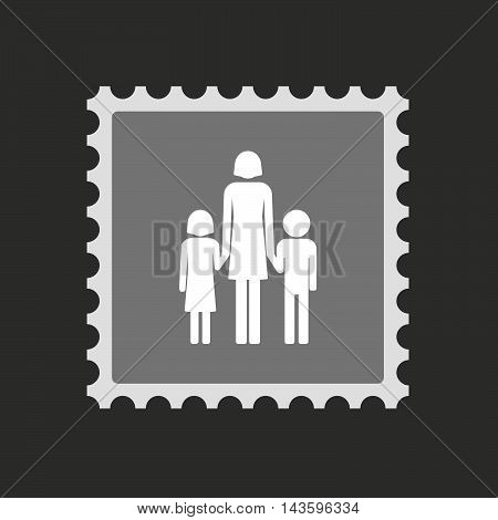 Isolated Mail Stamp Icon With A Female Single Parent Family Pictogram