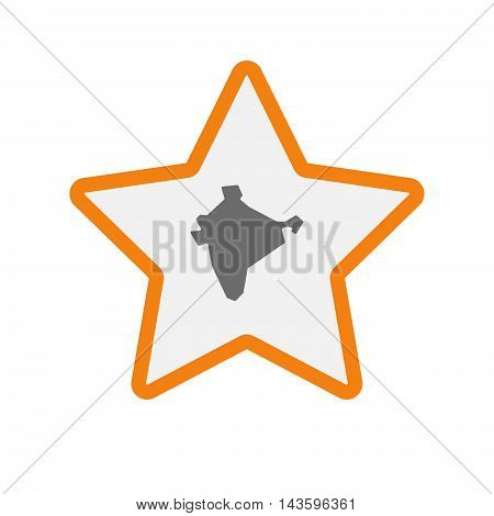 Isolated Line Art Star Icon With  A Map Of India