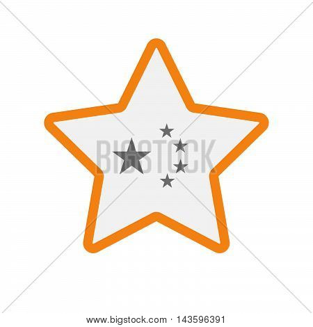Isolated Line Art Star Icon With  The Five Stars China Flag Symbol