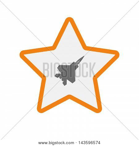 Isolated Line Art Star Icon With A Combat Plane