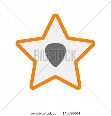Isolated Line Art Star Icon With A Plectrum