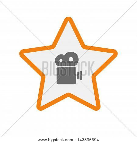 Isolated Line Art Star Icon With A Film Camera