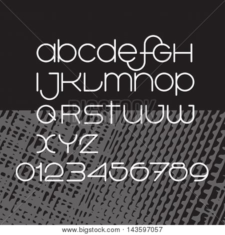 Vector minimalist  alphabet. Lines font design. White thin letters and numbers on black background.