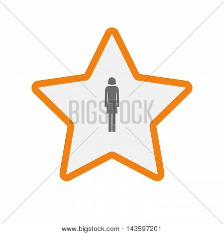 Isolated Line Art Star Icon With A Female Pictogram
