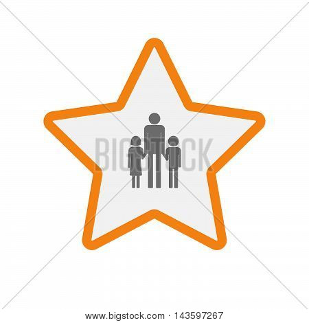 Isolated Line Art Star Icon With A Male Single Parent Family Pictogram