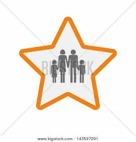 Isolated Line Art Star Icon With A Conventional Family Pictogram