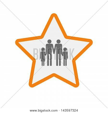 Isolated Line Art Star Icon With A Gay Parents  Family Pictogram