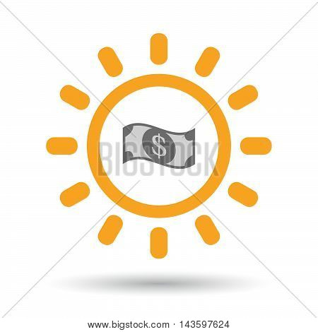 Isolated Line Art Sun Icon With A Dollar Bank Note
