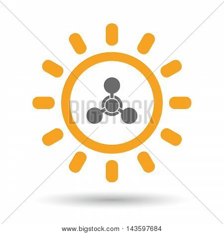 Isolated Line Art Sun Icon With A Chemical Weapon Sign