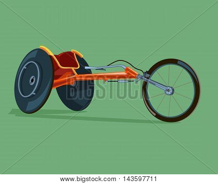 Racing wheelchair. The competition for people with disabilities. Vector Image.
