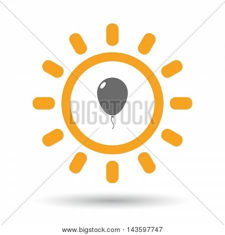 Isolated Line Art Sun Icon With A Balloon