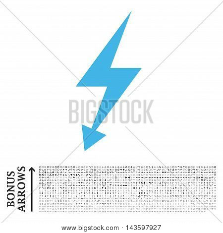 Electric Strike icon with 1200 bonus arrow and direction pictograms. Vector illustration style is flat iconic bicolor symbols, blue and gray colors, white background.