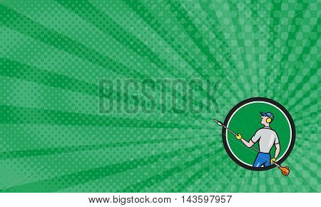 Business card showing Cartoon style illustration of male gardener holding hedge trimmer looking to the side viewed from rear set inside circle.
